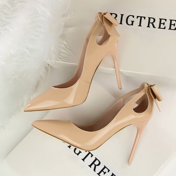 Lovely Nude Dating Bow Pumps 2020 Patent Leather 10 cm Stiletto Heels Pointed Toe Pumps