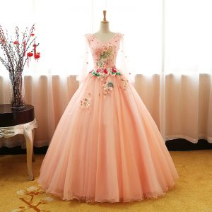 Chic / Beautiful Pearl Pink Prom Dresses 2017 Ball Gown V-Neck Sleeveless Appliques Flower Pearl Sequins Floor-Length / Long Ruffle Backless Formal Dresses