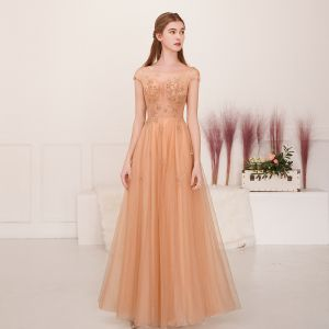 Illusion Champagne Gold See-through Evening Dresses  2019 A-Line / Princess Square Neckline Sleeveless Beading Floor-Length / Long Ruffle Backless Formal Dresses