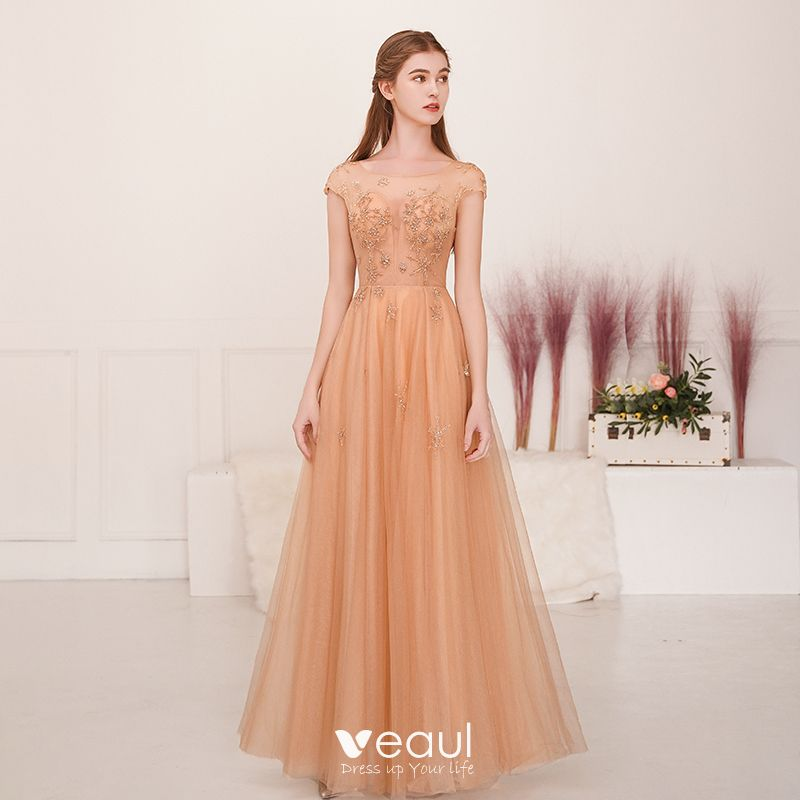 9e0b52a94e Illusion Champagne Gold See-through Evening Dresses 2019 A-Line   Princess  Square Neckline Sleeveless Beading Floor-Length .