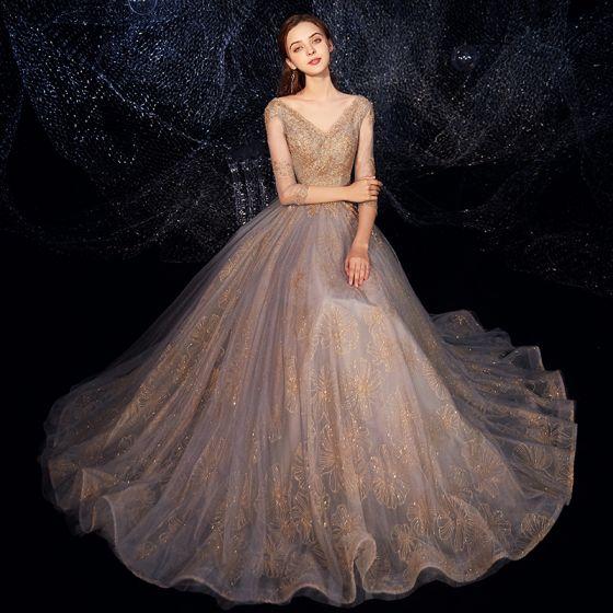 Luxury / Gorgeous Grey Gold Evening Dresses  2019 A-Line / Princess V-Neck 3/4 Sleeve Beading Glitter Tulle Floor-Length / Long Ruffle Backless Formal Dresses