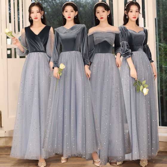 Affordable Navy Blue Bridesmaid Dresses 2021 A-Line / Princess Backless Star Sequins Sash Glitter Tulle Floor-Length / Long Ruffle