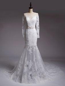 Mermaid Bröllopsklänningar 2016 Beading Scoop Urringning Applique Spets Paljetter Brudklänning Med Skärp