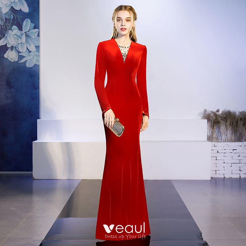 Elegante Einfarbig Schwarz Abendkleider 2019 Meerjungfrau ...