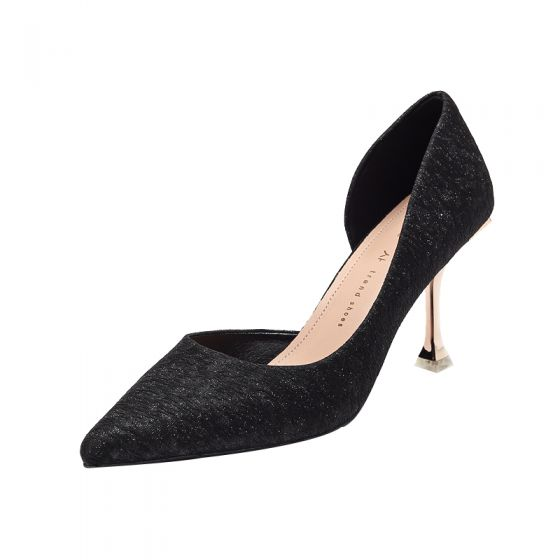 Chic / Beautiful Black Street Wear Rhinestone Womens Shoes High Heels 2021 8 cm Stiletto Heels Pointed Toe Heels