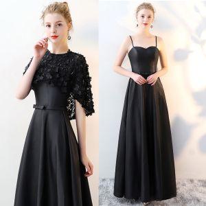 2 Pièces Noire Robe De Soirée 2017 Princesse Encolure Dégagée 1/2 Manches Appliques Fleur Noeud Ceinture Longue Robe De Ceremonie