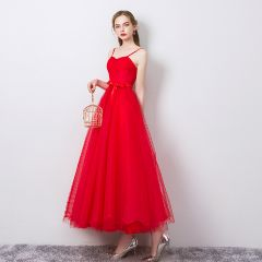 Modest / Simple Solid Color Red Evening Dresses  2019 A-Line / Princess Spaghetti Straps Bow Sleeveless Backless Ankle Length Formal Dresses