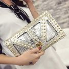 Chic / Beautiful 2017 Black Gold Silver White Leaf Rhinestone PU Beach Outdoor / Garden Clutch Bags
