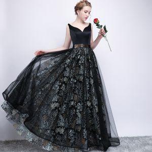 Chic / Belle Noire Robe De Bal 2017 Princesse Métal Ceinture Brodé V-Cou Dos Nu Sans Manches Longue Robe De Ceremonie
