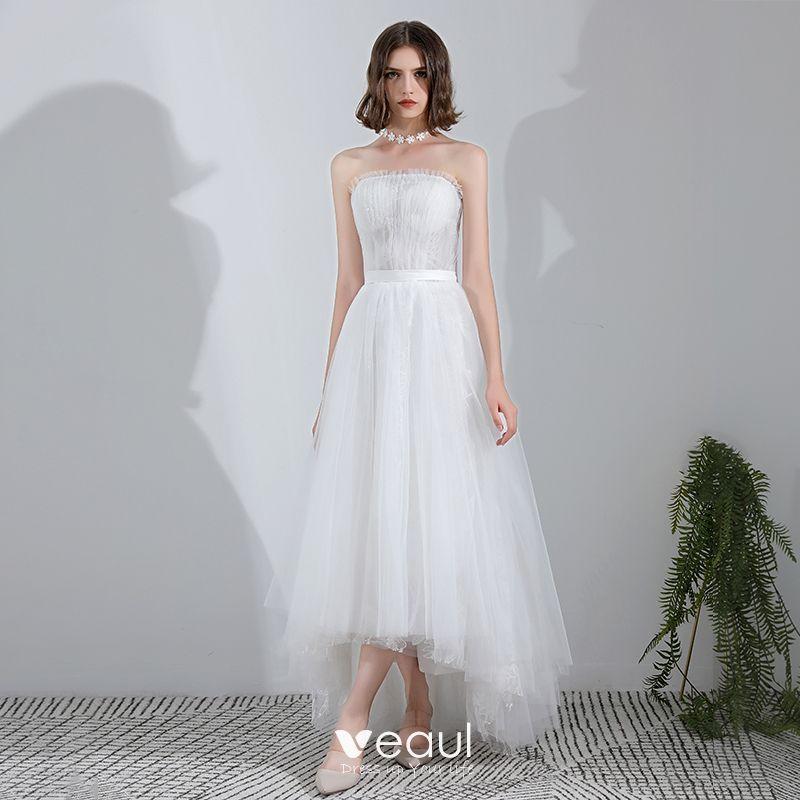 Princesse 2018 Mariage Asymétrique Mode Tulle Blanche Moderne SUpVMz