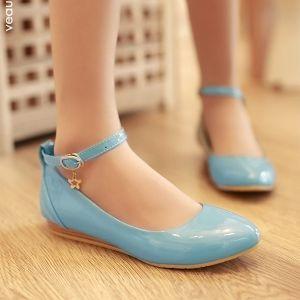 Prachtige Vlakke Pumps Lakleer Blauw Damesschoenen Met Enkelbandje