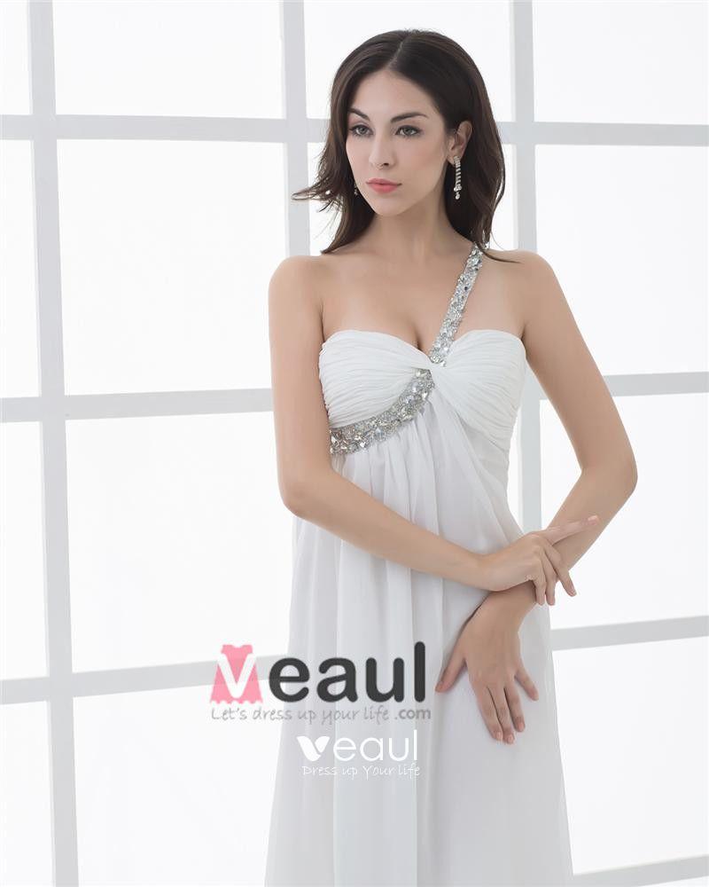 Chiffon One Shoulder Beading Pleated Floor Length Women Prom Dress