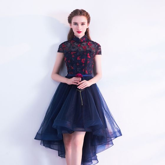 Chinese style Navy Blue Cocktail Dresses 2017 A-Line / Princess High Neck Short Sleeve Backless Pierced Appliques Butterfly Sash Asymmetrical Ruffle Formal Dresses