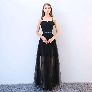 Piękne Czarne Sukienki Koktajlowe 2018 Princessa Spaghetti Pasy Bez Pleców Bez Rękawów Długie Sukienki Wizytowe