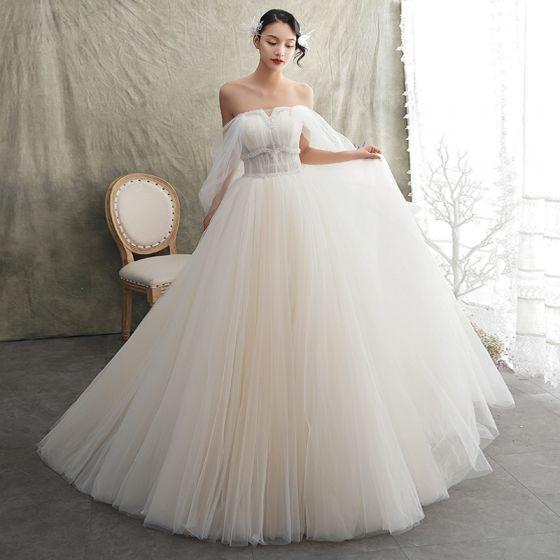 elegante champán vestidos de novia 2019 a-line / princess sin