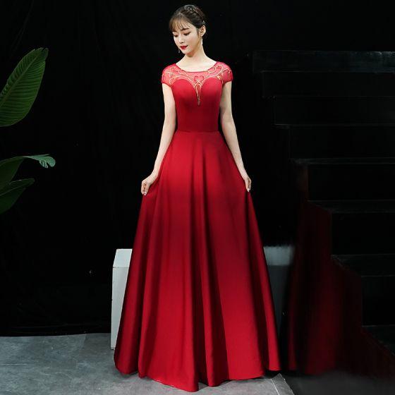 Hermoso Borgoña Vestidos de noche 2019 A-Line / Princess Scoop Escote Lentejuelas Manga Corta Sin Espalda Largos Vestidos Formales