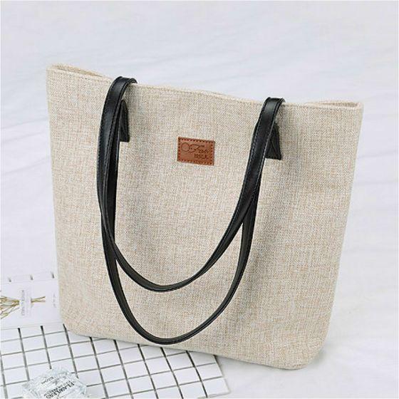 Schlicht Quadratische Beige Tragetasche Einkaufstasche Schultertaschen 2021 Segeltuch Freizeit Damentaschen