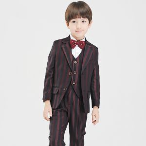 Modest / Simple Black Burgundy Striped Long Sleeve Boys Wedding Suits 2017