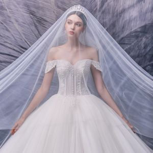 Luxury / Gorgeous Ivory Bridal Wedding Dresses 2020 Ball Gown Off-The-Shoulder Short Sleeve Backless Appliques Lace Beading Pearl Cathedral Train Ruffle