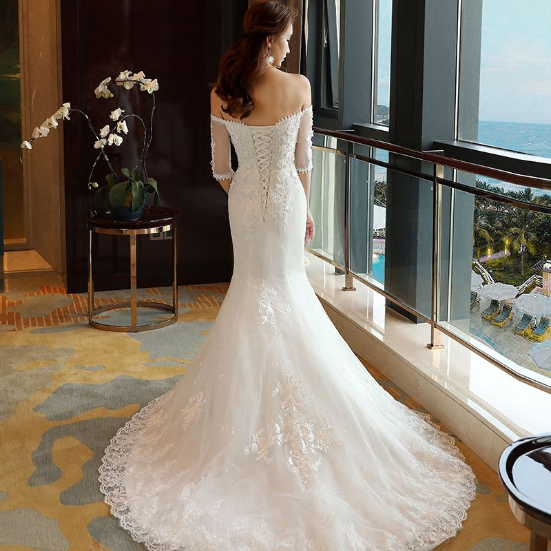 Affordable Wedding Dresses 2017 White Trumpet / Mermaid Chapel Train Off-The-Shoulder 1/2 Sleeves Backless Lace Appliques Pearl Sequins