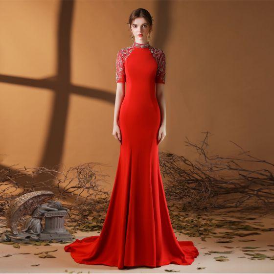 Eleganckie Vintage Czerwone Sukienki Wieczorowe 2020 Syrena / Rozkloszowane Wysokiej Szyi Kótkie Rękawy Frezowanie Rhinestone Trenem Sweep Wzburzyć Sukienki Wizytowe