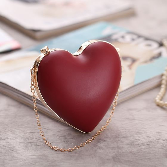Chic / Beautiful Burgundy Heart-shaped Metal Clutch Bags 2018