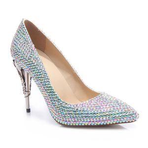 Chic / Belle Multi-Couleurs Faux Diamant Chaussure De Mariée 2020 Cuir 10 cm Talons Aiguilles À Bout Pointu Mariage Escarpins