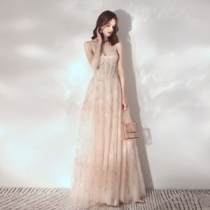Best Champagne Evening Dresses  2019 A-Line / Princess Spaghetti Straps Sleeveless Beading Floor-Length / Long Ruffle Backless Formal Dresses