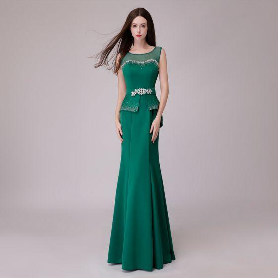 Vintage Zielony Sukienki Wieczorowe 2018 Syrena / Rozkloszowane Rhinestone Szarfa Wycięciem Bez Pleców Bez Rękawów Długie Sukienki Wizytowe