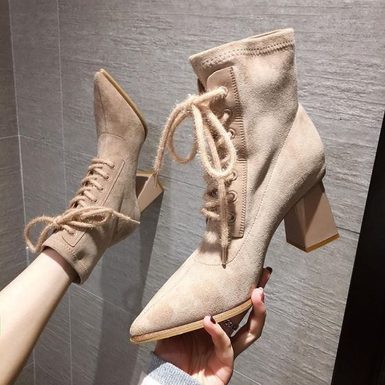 Fashion Beige Street Wear Suede Womens Boots 2020 Ankle 7 cm Thick Heels Pointed Toe Boots