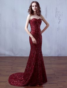 Sparkly Evening Dresses 2016 Mermaid Sweetheart Sequins Long Dress With Sweep Train
