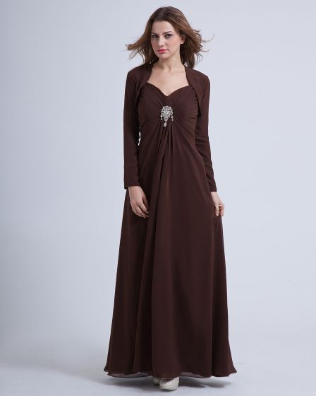 Chiffon Pleated Ruffles V-neck Ankle Length Mothers of Bride Guests Dress