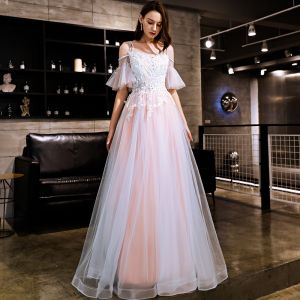 Elegant Blushing Pink Evening Dresses  2019 A-Line / Princess Appliques Lace Beading Rhinestone Spaghetti Straps Backless Short Sleeve Floor-Length / Long Formal Dresses