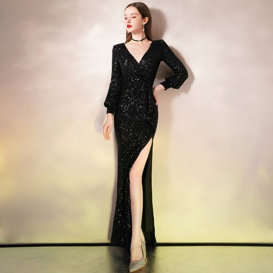Sexy Black Sequins Evening Dresses  2020 Trumpet / Mermaid Deep V-Neck Puffy Long Sleeve Split Front Floor-Length / Long Formal Dresses