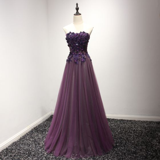 Hermoso Vestidos Formales 2017 Uva A-Line / Princess Largos Sin Tirantes Sin Mangas Sin Espalda Con Encaje Apliques Rebordear Vestidos de noche