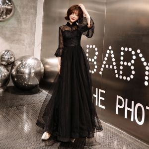 Affordable Black Lace See-through Evening Dresses  2019 A-Line / Princess High Neck Bell sleeves Sash Floor-Length / Long Ruffle Backless Formal Dresses