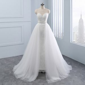 Chic / Beautiful Ivory Wedding Dresses 2018 Trumpet / Mermaid Lace Flower Beading Pearl Scoop Neck Sleeveless Detachable Wedding