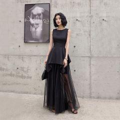 Modern / Fashion Black Summer Evening Dresses  2019 A-Line / Princess Square Neckline Sleeveless Floor-Length / Long Ruffle Formal Dresses
