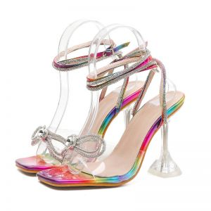 Sexy Multi-Colors Cocktail Party Womens Sandals 2020 Rhinestone Ankle Strap Bow 10 cm Stiletto Heels Open / Peep Toe Sandals
