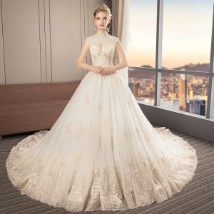 Chinese style Champagne Wedding Dresses 2019 A-Line / Princess High Neck Sleeveless Appliques Lace Sequins Beading Cathedral Train Ruffle