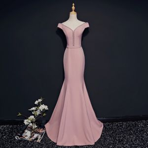Modest / Simple Blushing Pink Evening Dresses  2018 Trumpet / Mermaid V-Neck Short Sleeve Beading Crystal Sash Sweep Train Backless Formal Dresses