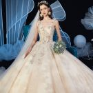 Chic / Beautiful Champagne Wedding Dresses 2019 Ball Gown Spaghetti Straps Sleeveless Backless Glitter Appliques Lace Beading Cathedral Train Ruffle