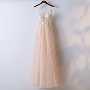 Schöne Champagner Abendkleider 2017 A Linie Mit Spitze Blumen V-Ausschnitt Reißverschluss Ärmellos Knöchellänge Abend