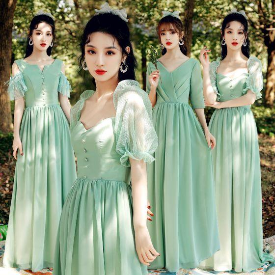 Modest / Simple Mint Green Bridesmaid Dresses 2021 A-Line / Princess V-Neck Short Sleeve Backless Floor-Length / Long Wedding Party Dresses