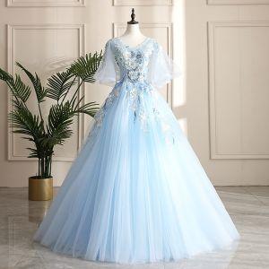 Chic Bleu Ciel Robe De Bal 2019 Princesse V-Cou Perle Paillettes En Dentelle Fleur Manches Courtes Dos Nu Longue Robe De Ceremonie