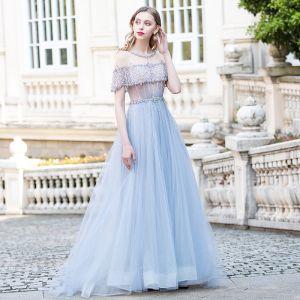 Luksusowe Błękitne Sukienki Wieczorowe 2020 Princessa Przezroczyste Wycięciem Kótkie Rękawy Rhinestone Szarfa Frezowanie Trenem Sweep Wzburzyć Bez Pleców Sukienki Wizytowe