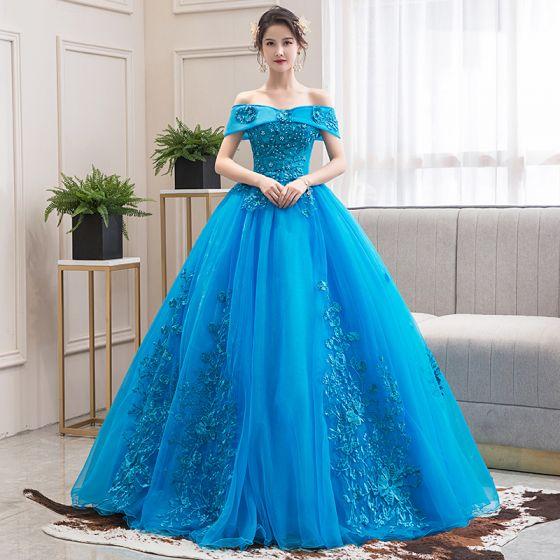 Eleganckie Jade Zielony Taniec Sukienki Na Bal 2020 Suknia Balowa Przy Ramieniu Kótkie Rękawy Aplikacje Z Koronki Frezowanie Długie Wzburzyć Bez Pleców Sukienki Wizytowe
