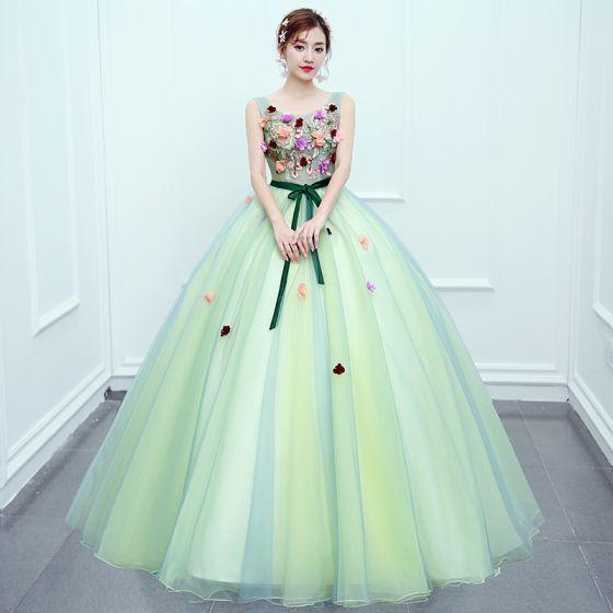 Hada de las flores Verde Lima Bailando Vestidos de gala 2020 Ball Gown Scoop Escote Sin Mangas Apliques Flor Cinturón Largos Ruffle Sin Espalda Vestidos Formales