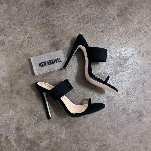 Eye-catching Black Casual Womens Sandals 2020 12 cm Stiletto Heels Open / Peep Toe Sandals