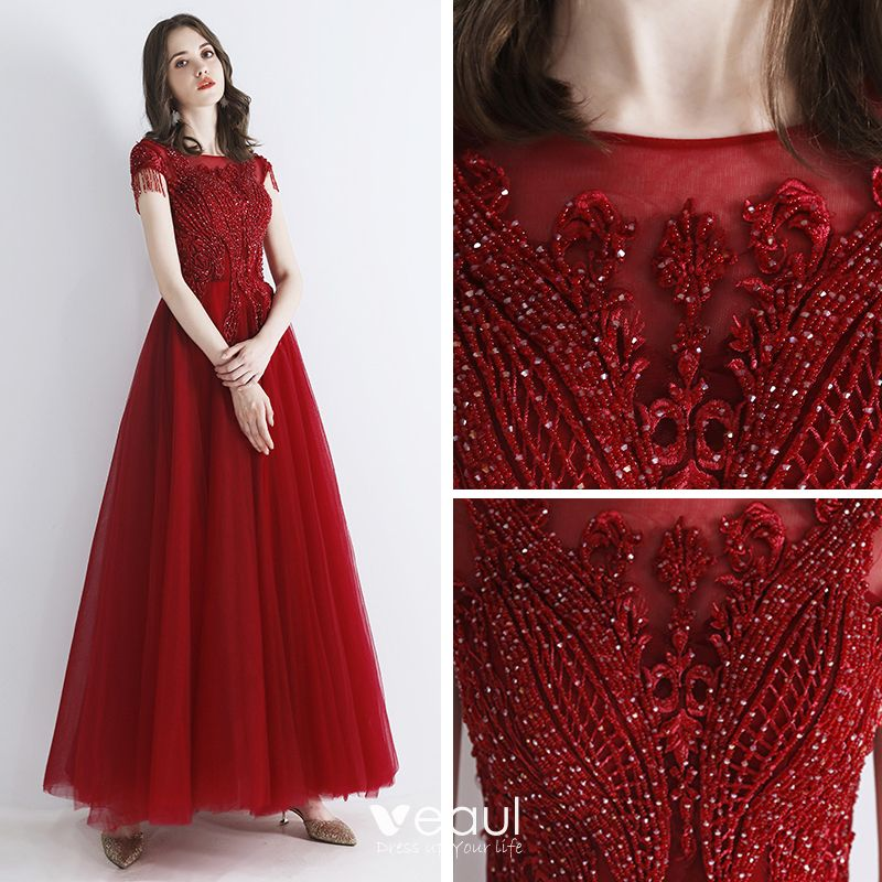 Chic / Beautiful Burgundy Evening Dresses  2019 A-Line / Princess Scoop Neck Sleeveless Beading Tassel Appliques Lace Floor-Length / Long Ruffle Backless Formal Dresses